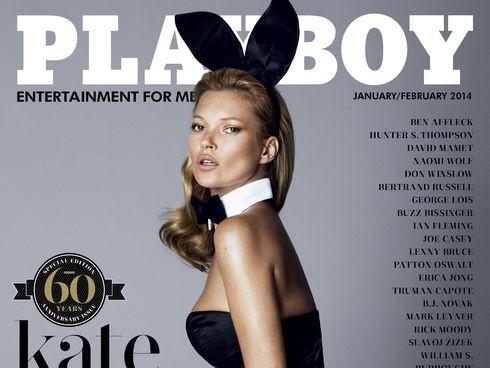"""97edda700c527 A capa de janeiro fevereiro da revista """"Playboy"""", protagonizada por Kate  Moss foi divulgada na internet. Este número assinala o 60º aniversário da  revista."""