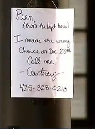 Um dos cartazes que Courtney espalhou pela cidade