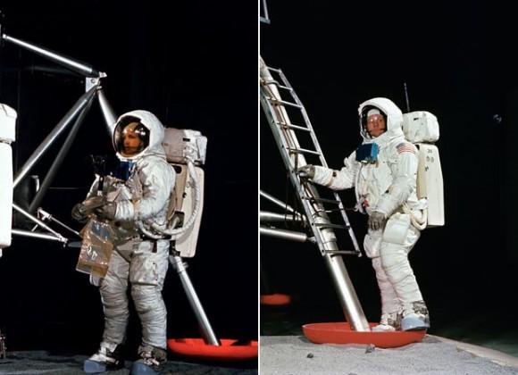 Aldrin e Armstrong durante o treino da Nasa (Foto: Arquivo/NASA)
