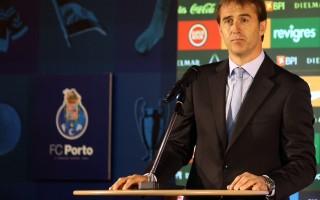 """Julen Lopetegui e Pinto da Costa na ApresentaÁ""""o do novo treinador do Fc Porto - ApresentaÁ""""o realizada no Est·dio do Drag""""o no Porto"""
