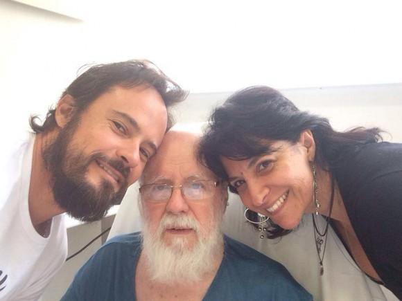 Paulo Vilhena com o pai e a irmã, Christiane Vilhena
