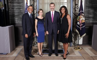 Os reis com Barack e Michelle Obama