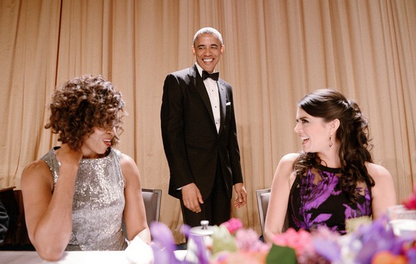 Jantar Correspondentes Michelle Obama, Barack Obama e Cecily Strong