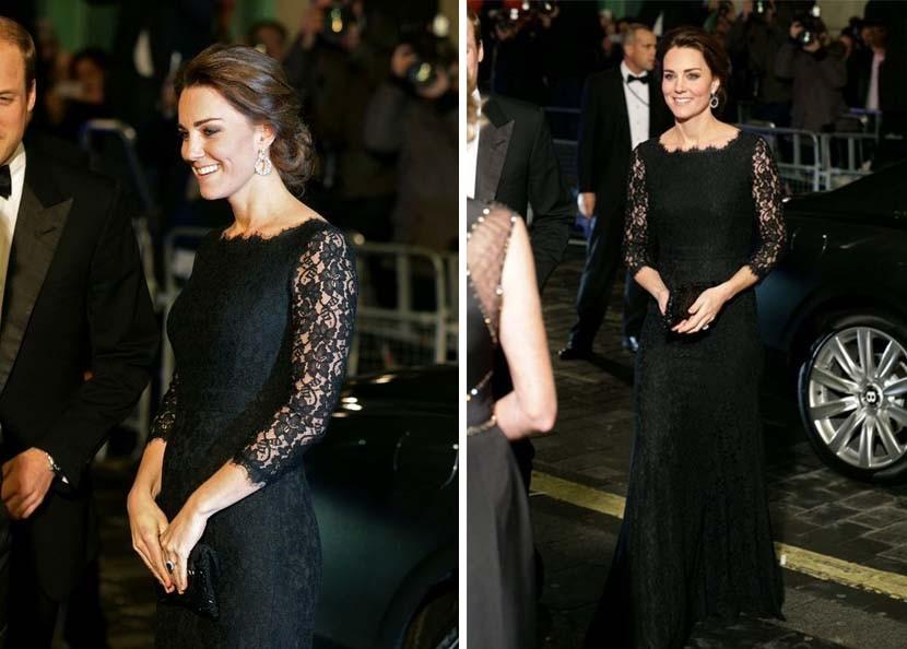 Kate com um vestido Diane Von Furstenberg