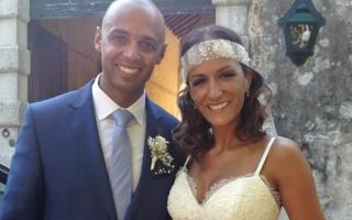 """Joana de Sousa Cardoso e Amâncio Santos  disseram o """"sim"""" na Igreja Nossa Senhora da Purificação, em Oeiras, em junho."""