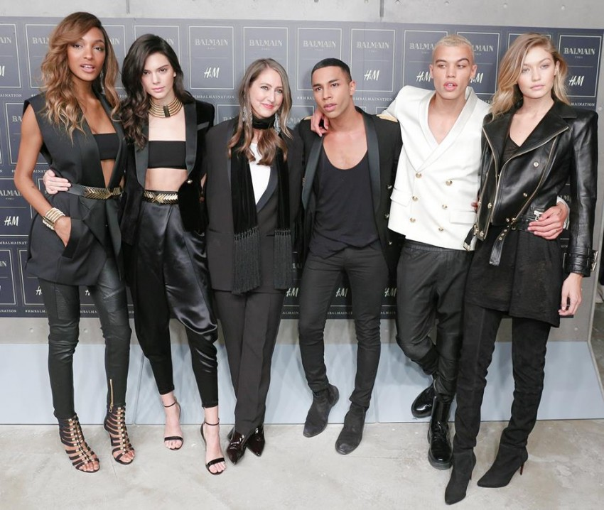 Jourdan Dunn, Kendall Jenner, Ann-Sofie Johansson, Olivier Rousteing, Dudley O'Shaughnessy e Gigi Hadid