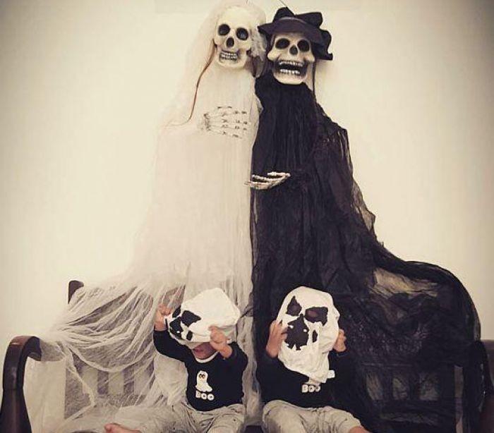 Zoe Saldana com os filhos