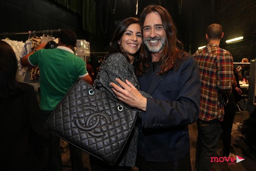 Miguel Viana nos bastidores com a directora da agencia Best Models, Alexandra Macedo