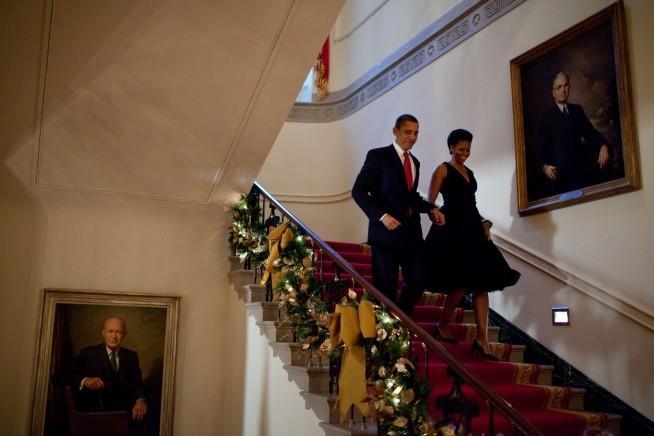 O casal a caminha da festa de Natal em 2009