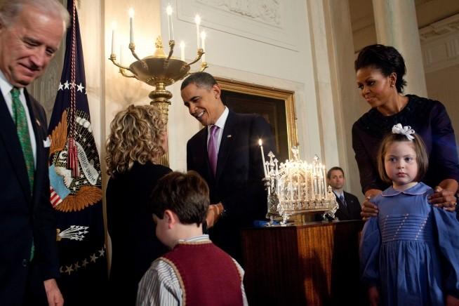 O casal na receção Hanukkah em 2009