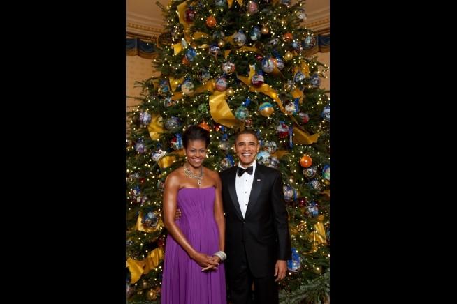 O retrato oficial da época festiva do presidente e da primeira-dama em 2009