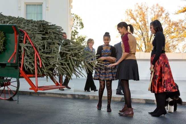 Quando a primeira-dama e as filhas, Malia e Sasha, receberam a árvore em 2012