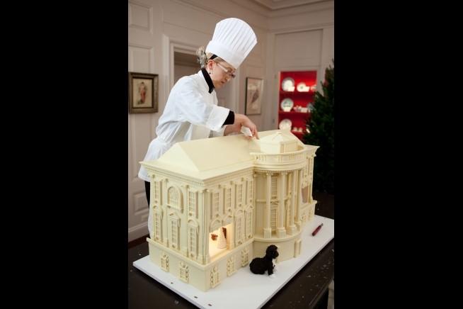 Uma réplica da Casa Branca em chocolate