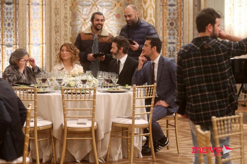 Os atores com o realizador