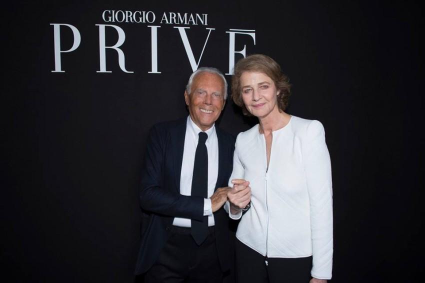 Giorgio Armani e Charlotte Rampling