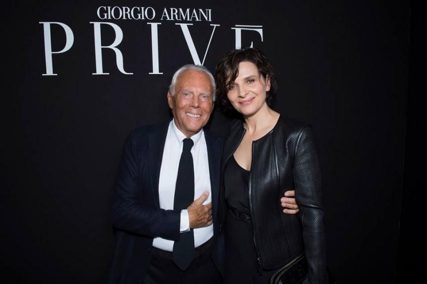 PFW Giorgio Armani e Juliette Binoche