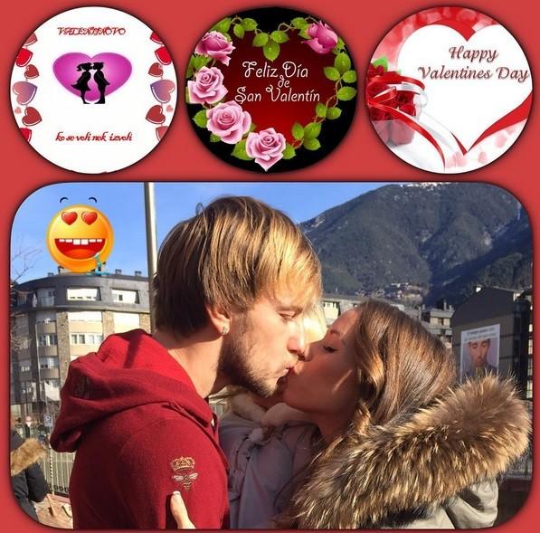 O jogador Ivan Rakitic publicou uma foto na qual surge a trocar um beijo apaixonado com a mulher, Raquel.