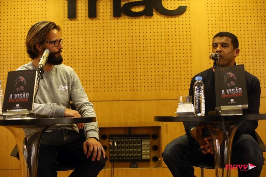 Ricardo Guedes e Jorge Pina durante a apresentação do livro