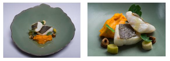 Filete de peixe-galo glaciado com mel e gengibre, alho francês queimado, avelãs e tâmaras