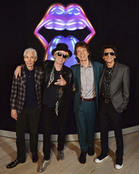 Os elementos da banda: Charlie Watts, Keith Richards, Mick Jagger e Ronnie Wood