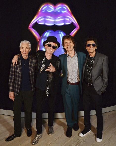 Os elementos da banda: Charlie Watts, Keith Richards, Mick Jagger e Ronnie Wood