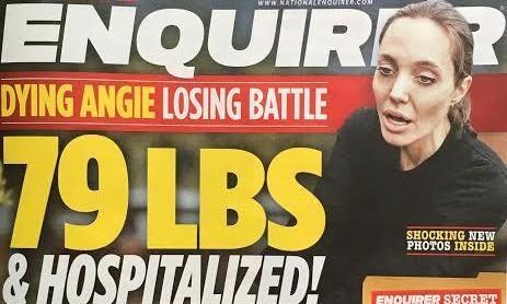 A capa do National Enquirer que dá conta do estado da atriz