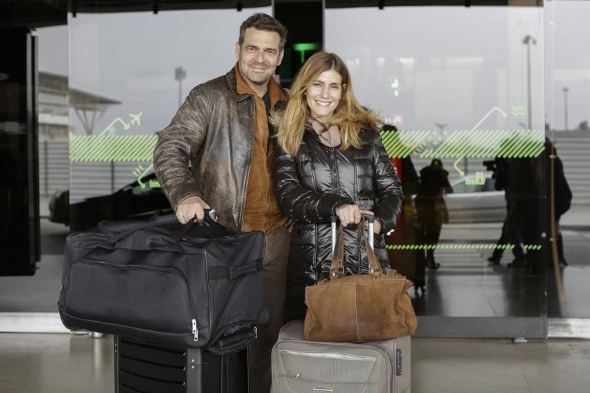 Pepê e Sandra Barata Belo no aeroporto