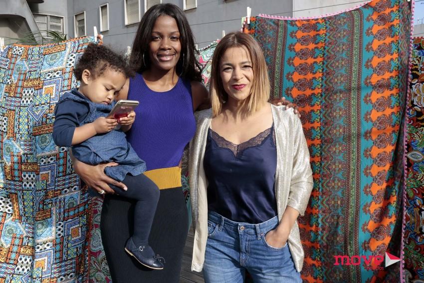 Weza Silva com a filha Chloé e a madrinha da menina, Rita Ferro Rodrigues