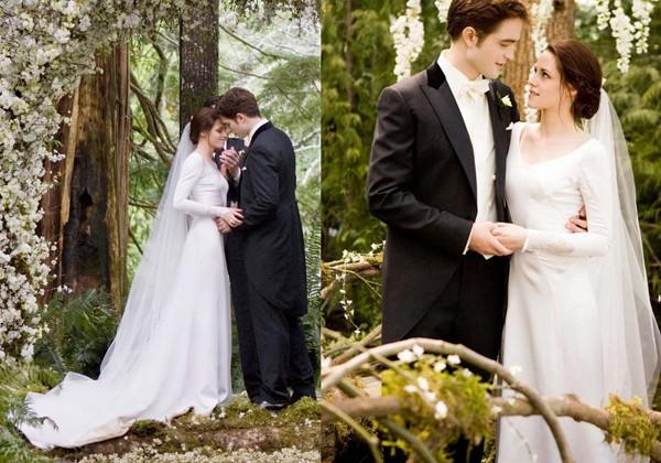 Kristen Stewart usou em Amanhecer Parte 1 de 2011, um vestido Carolina Herrera