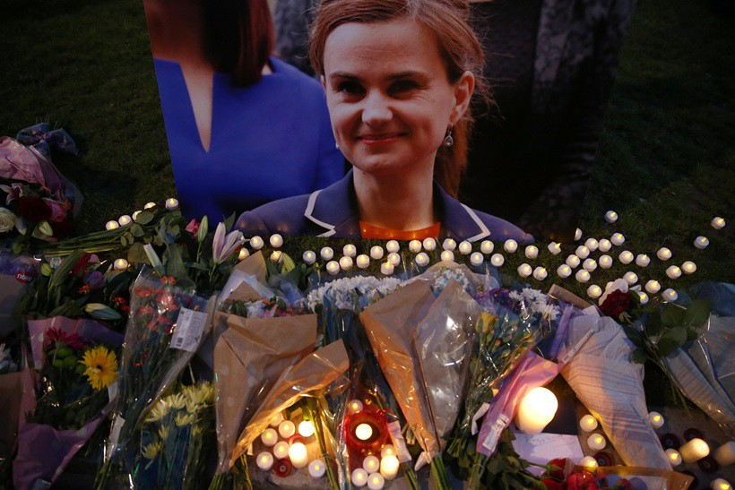 Tributes for murdered Labour Party MP Jo Cox are displayed on Parliament Square in London