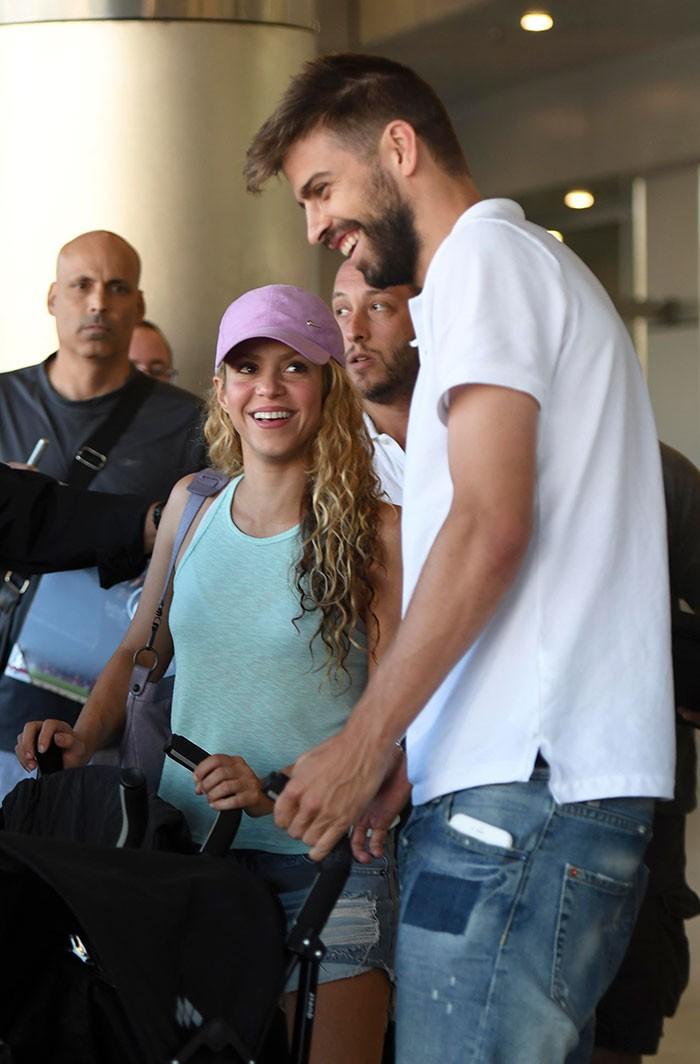 Shakira e Piqué à chegada a Miami