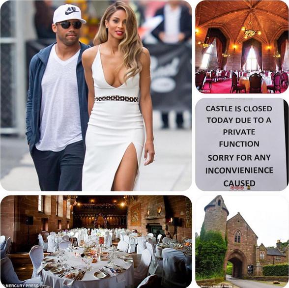 Pormenores do Castelo de Peckforton no dia do casamento