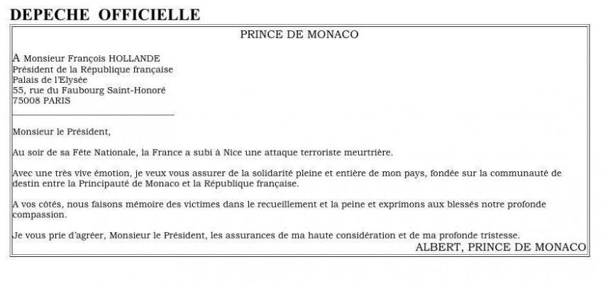 As condolências que o príncipe Alberto enviou ao presidente francês Hollande