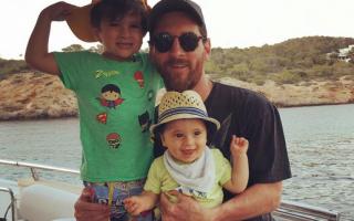 Messi e os dois filhos