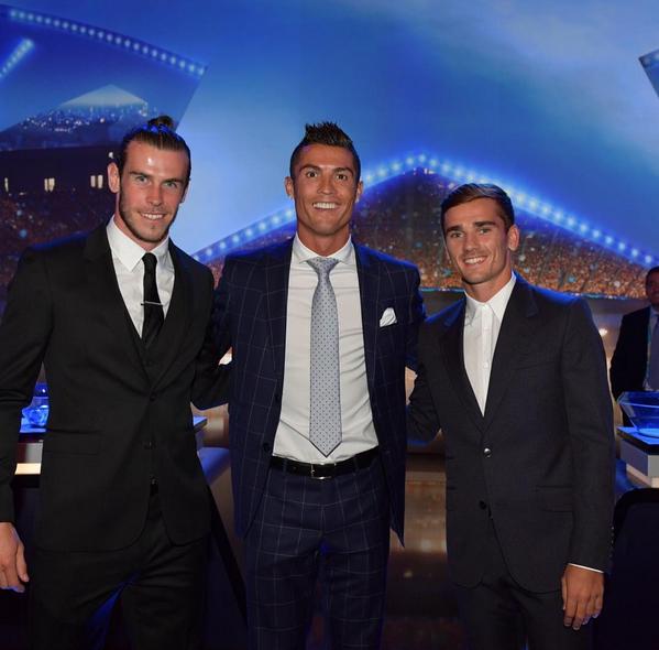 Gareth Bale, Cristiano Ronaldo e Antoine Griezmann Prémio Melhor Jogador UEFA