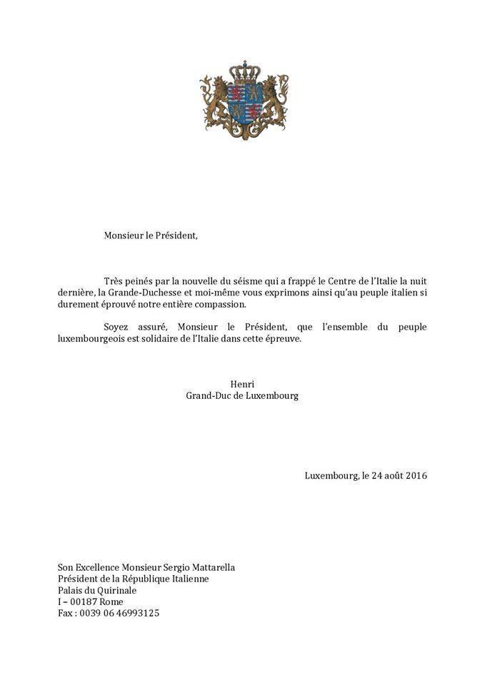 """Tal como o grão-duque do Luxemburgo que ofereceu a sua """"inteira compaixão"""" e solidariedade aos italianos"""
