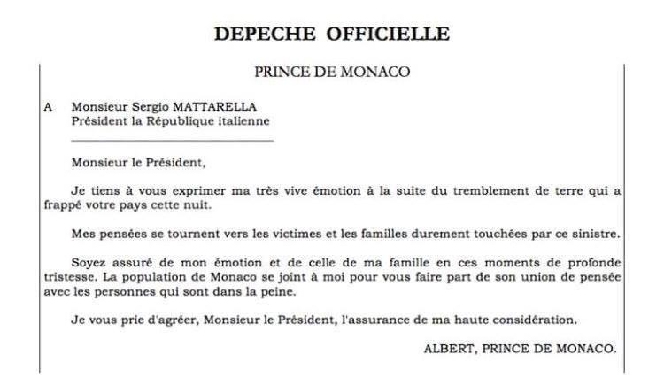 """Príncipe Alberto do Mónaco também mandou uma carta. """"Os meus pensamentos vão para as vítimas e as famílias"""", acrescentando que o povo monegasco está solidário com a dor"""