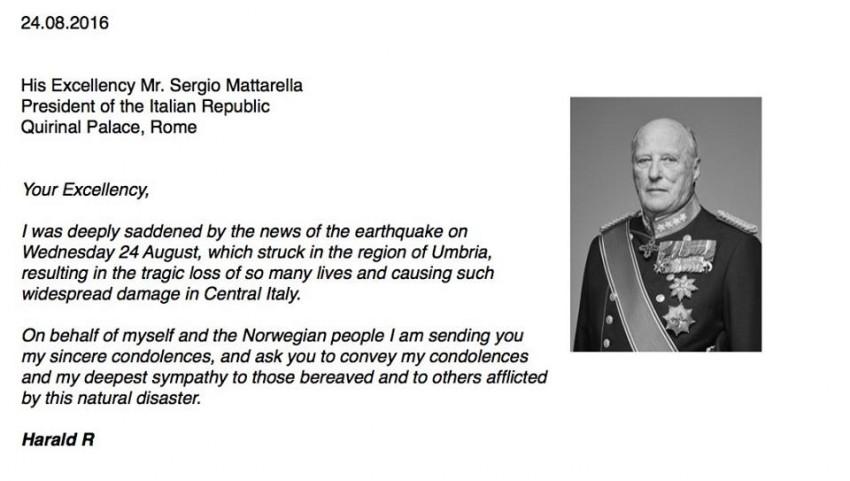 """Rei Harald da Noruega fez o mesmo. No texto enviado ao presidente italiano Sergio Mattarella mandou as condolências e a """"mais sincera simpatia"""" pelas vítimas e pessoas afetadas pelo sismo"""