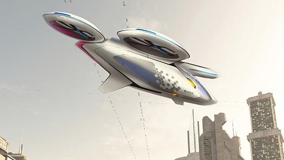 Pormenor do táxi voador da Airbus