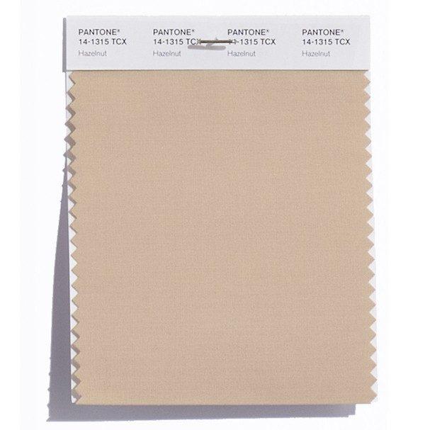 Hazelnut 14-1315: Avelã. É uma cor neutra com um tom quente. Pode ser usada todo o ano, por isso é uma cor de transição. Kanye West e Dennis Basso apostaram nela