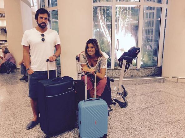 Inês Folque e Gonçalo Ribeiro Telles durante a viagem