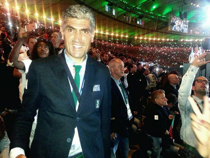 O atleta na cerimónia de abertura dos Jogos Paralímpicos do Rio de Janeiro