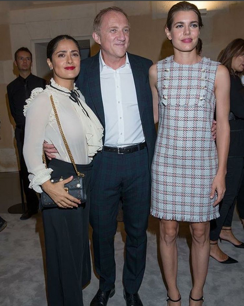 Salma Hayek, o marido François-Henri Pinault e Charlotte Casiraghi