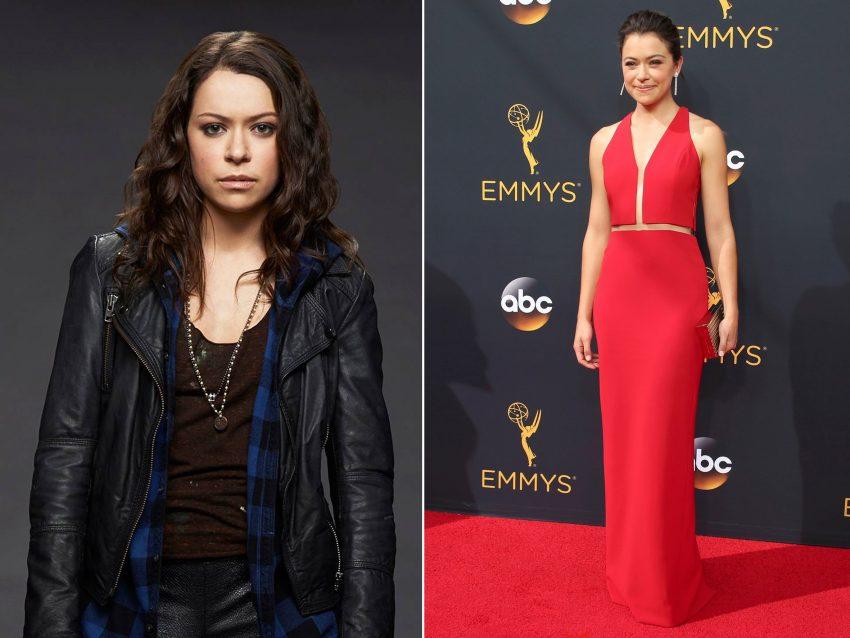 Tatiana Maslany: Ganhou o Emmy de Melhor Atriz em série dramática pela sua prestação em 'Orphan Black'. Longe do visual gótico que insere na sua personagem, a atriz escolheu um longo vestido vermelho para receber o galardão