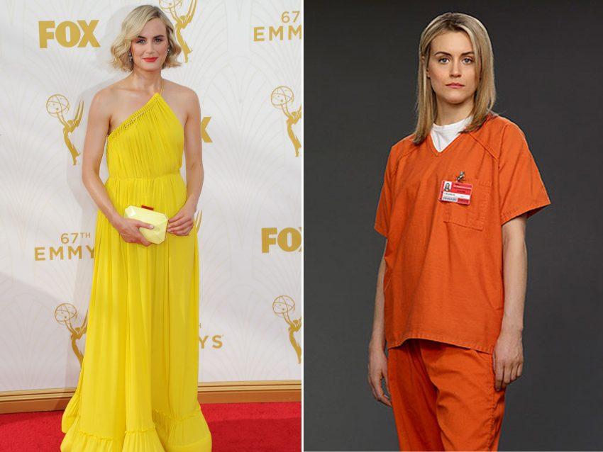 """Taylor Schilling: Habituou-nos a vê-la sempre de farda de presa em 'Orange is the new black', no entanto, a atriz provou que o amarelo também lhe assenta """"como uma luva"""" ainda que muitos não tenham percebido que se tratava da protagonista da série."""