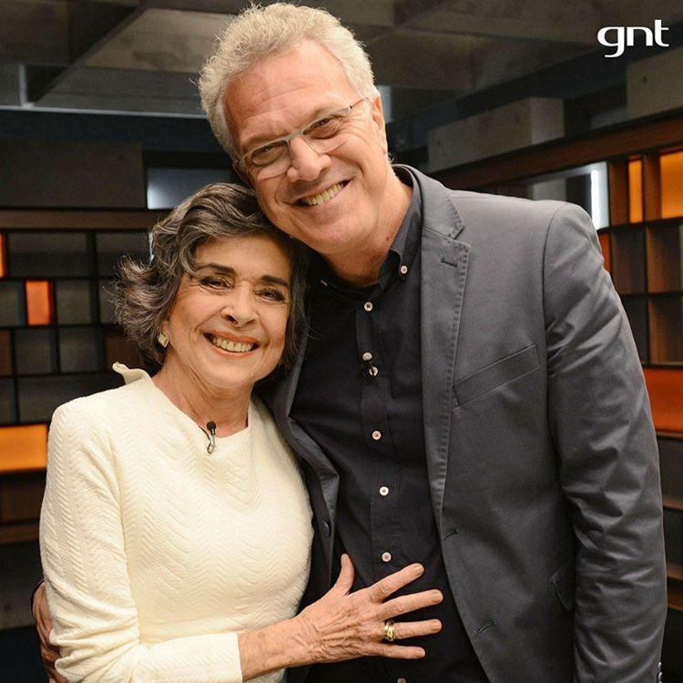 Betty Faria e o apresentador Pedro Bial