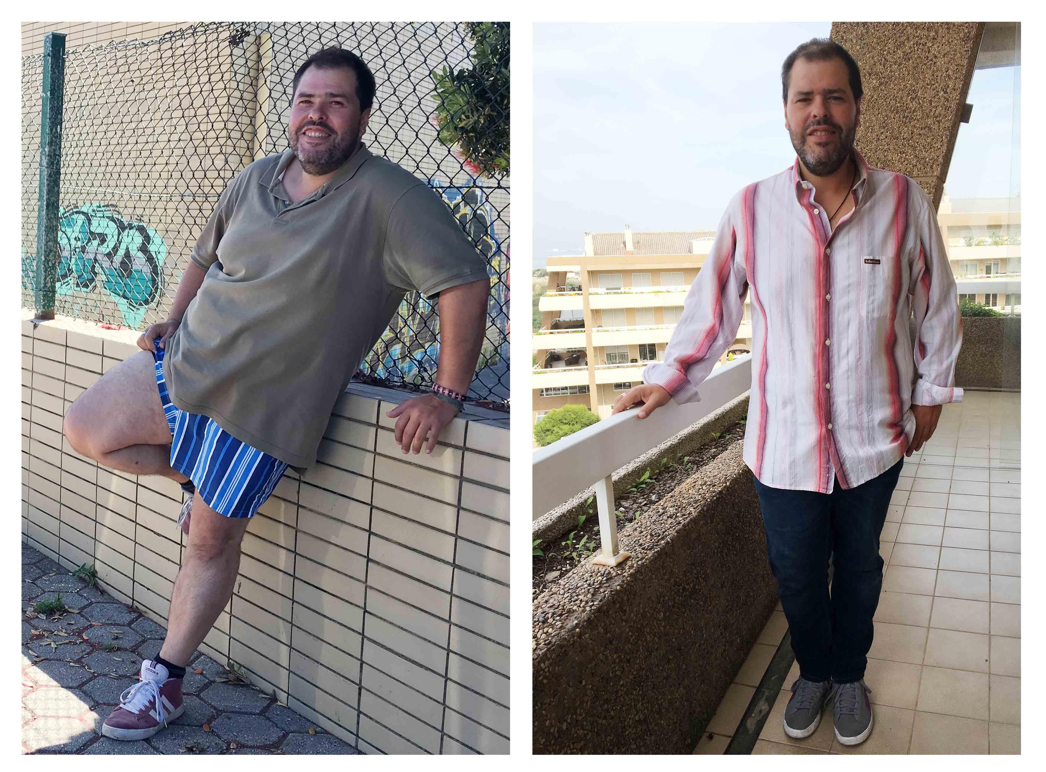 José Gageiro antes (à esquerda) e 2 meses depois da dieta (dir.)