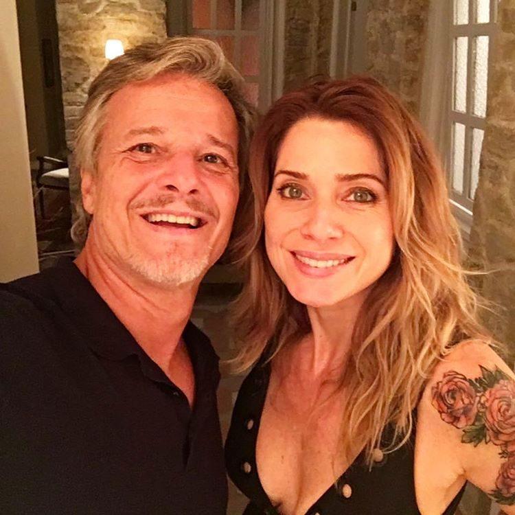 O ex-casal na gravação da novela