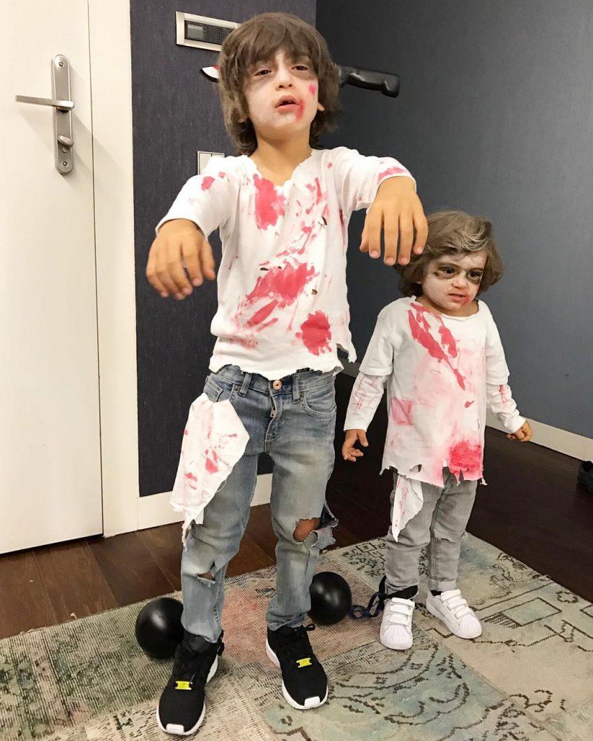 Os irmãos vestiram-se de zombies