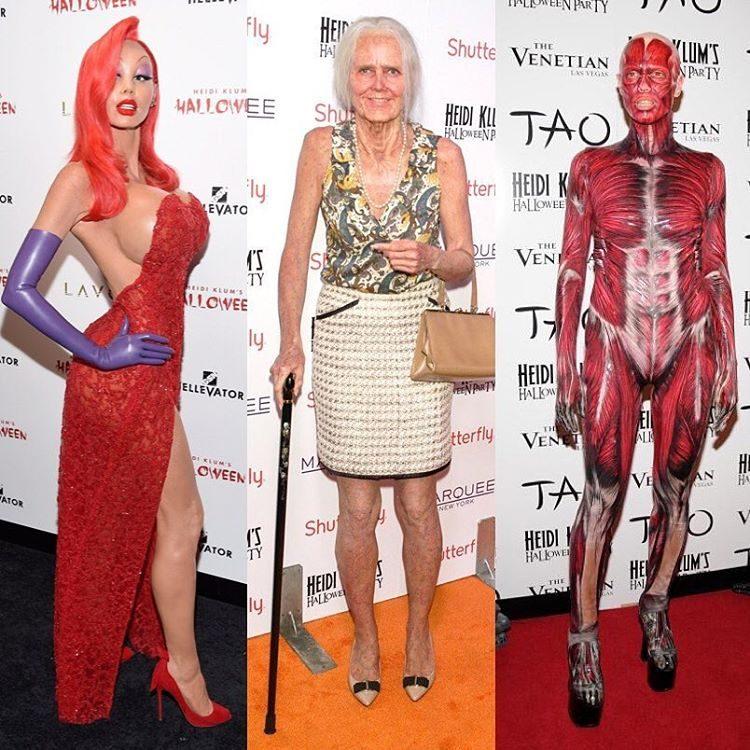 Jessica Rabbit, avózinha e corpo humano foram alguns dos disfarces de Heidi que fizeram sucesso em anos anteriores